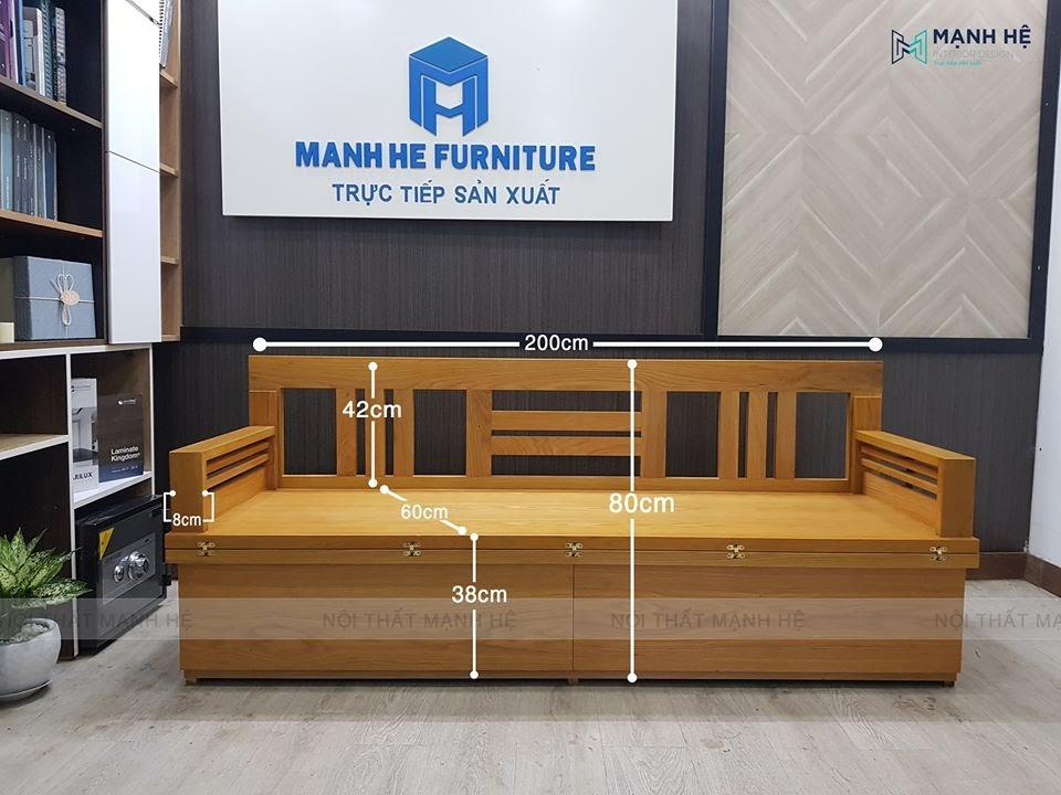 Kích thước chuẩn và chắc chắn của ghế sofa giường Mạnh Hệ